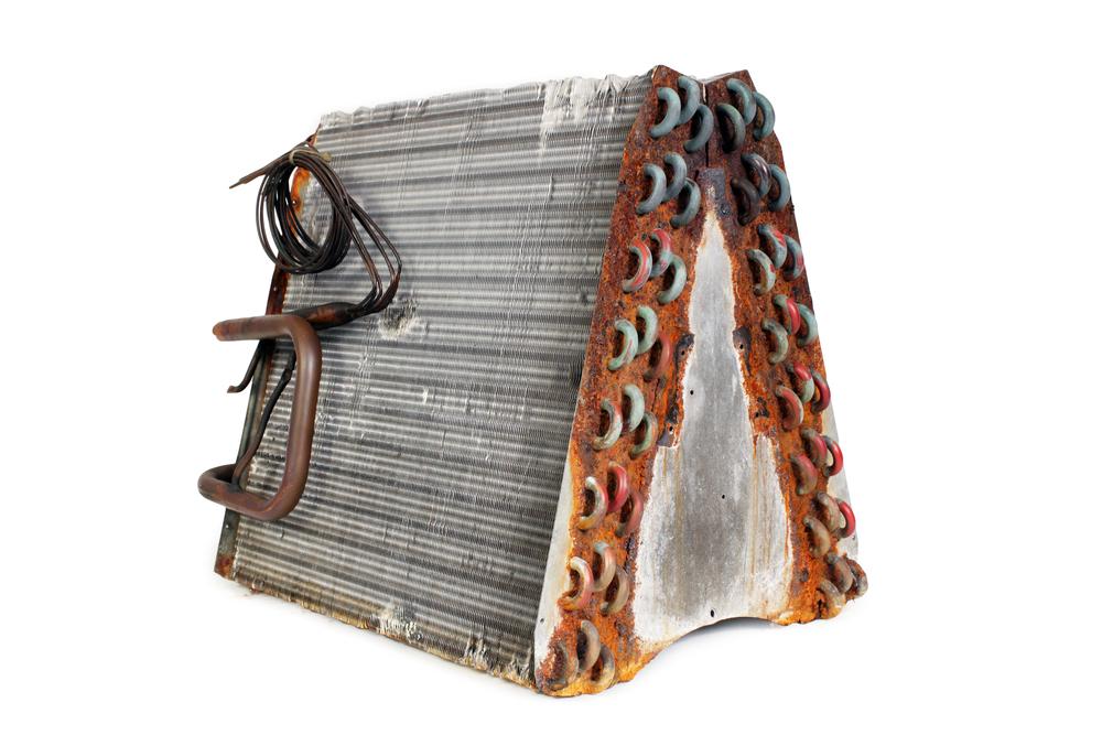 Rusted A-frame evaporator coils