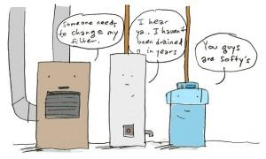 Three Thrifty Guys furnace cartoon